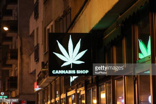 Cannabis shop with a non THC cannabis HEMP products is seen in Wroclaw, Poland on 31 October 2020