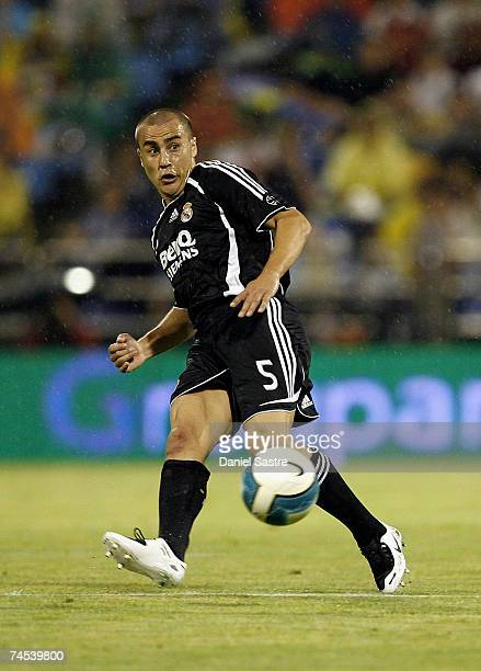 Cannavaro of Real Madrid controls the ball during the La Liga match between Real Zaragoza and Real Madrid at the Romareda stadium on June 9, 2007 in...