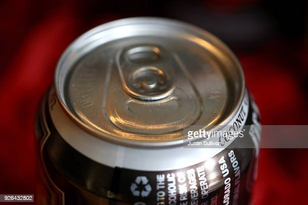 A canned alcoholic beverage is displayed on a shelf at Ales Unlimited on March 2 2018 in San Francisco California Beverage companies that use...