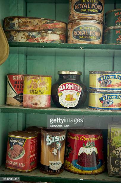 Canned food from the 1950's sits untouched on the shelves in the back of Bransfield House at Port Lockroy in Antarctica.