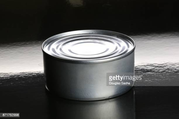 Canned food on a black background
