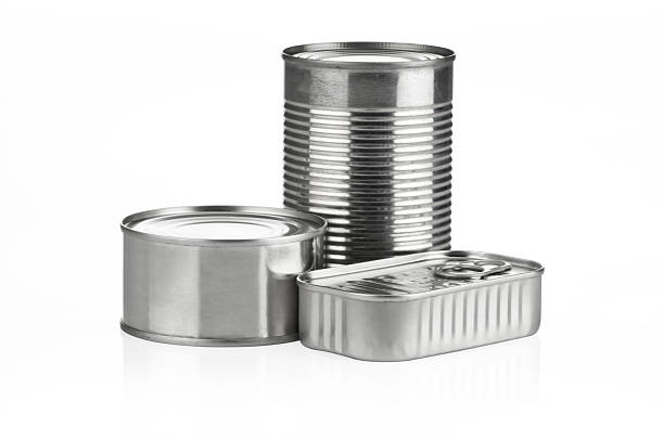 canned food with clipping path - canned food stock pictures, royalty-free photos & images