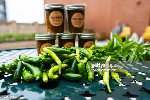 Canned vegetables from Wanda Peaches Dickerson a resident of Potomac Yard Apartments sit ready to be shared