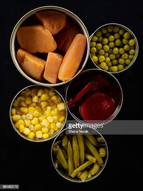canned vegtables - canned food stock pictures, royalty-free photos & images
