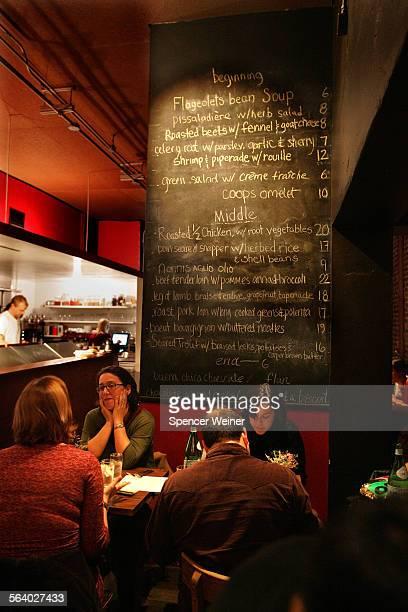 Cannelé – a new restaurant in Atwater Village Chef Corina Weibel's menu on blackboard greets patrons December 8 2006 Canelé 3219 Glendale Blvd
