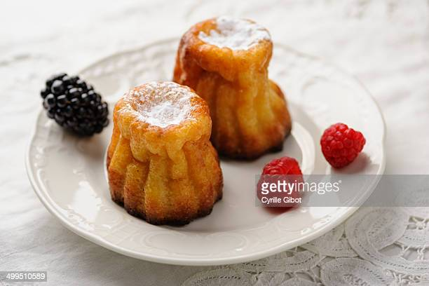 Cannelés on white plate