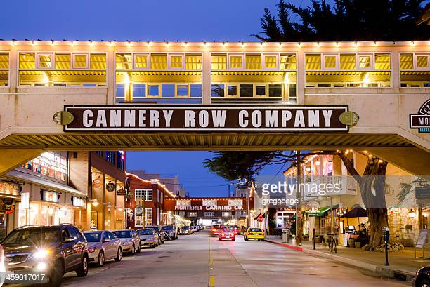 cannery row in monterey, ca at night - monterrey stock pictures, royalty-free photos & images