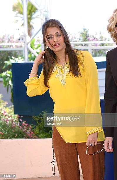Cannes 2003 jury member and actress Aishwarya Rai poses during a photocall at the Palais des Festivals during the 56th International Cannes Film...