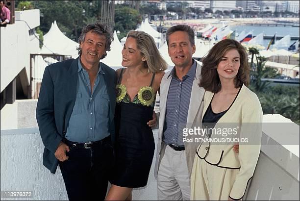 "Cannes 92: Film ""BASIC INSTINCT"" in Cannes, France on May 21, 2002-Paul Verhoeven, Sharon Stone, Michael Douglas & Jeanne Tripplehorn."