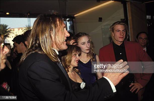 Cannes 92 Opening night in Cannes France on May 07 1992Gerard Depardieu his wife Elisabeth and their children