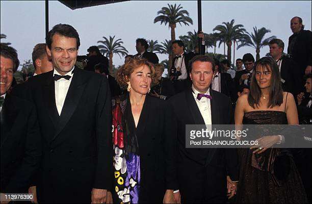 Cannes 92 Projection Film THE PLAYER in Cannes France on May 09 1992Michel Noir Michel Botton and wife AnneValerie
