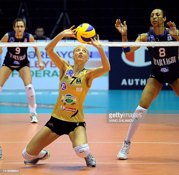 RC Cannes' Ana Antonijevic sets the ball during the Final four of the 2012 CEV Volleyball Champions League women semifinal match between RC Canner...