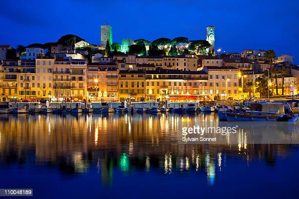 cannes at night, france - cannes stock pictures, royalty-free photos & images