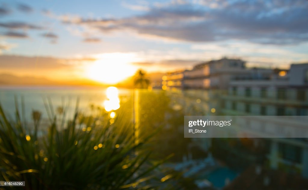 Cannes at sunset, blurred image for background : Stock-Foto