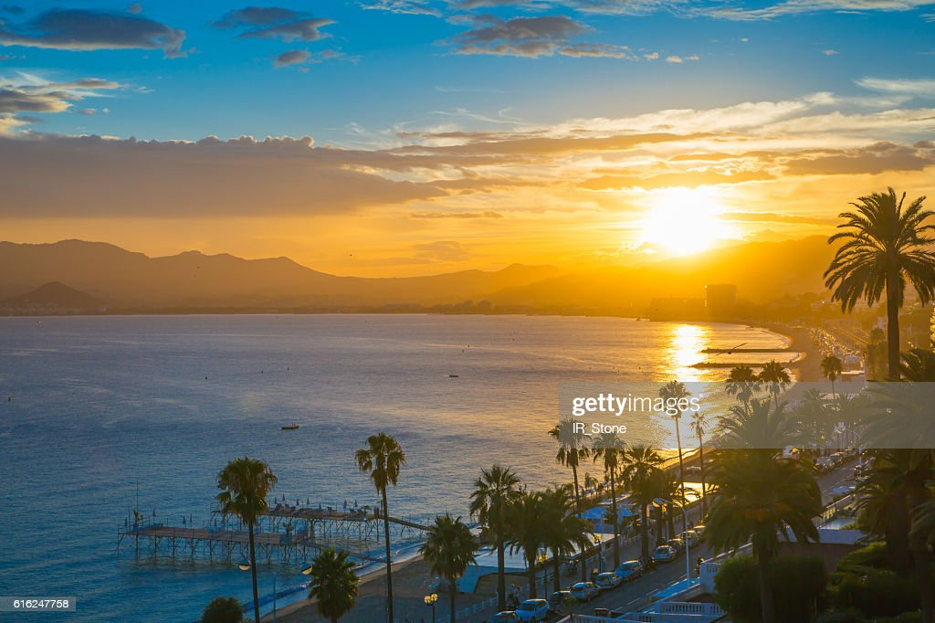 Cannes at sunset. France : Stock Photo