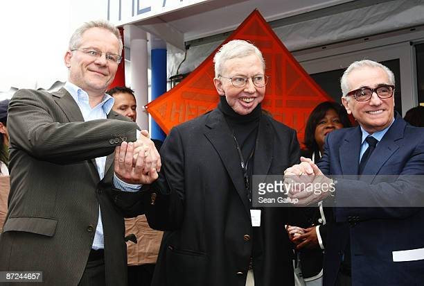 Cannes Festival Director Thierry Fremaux Film critic Roger Ebert and Director Martin Scorsese attend the Roger Ebert Conference Center Announcement...