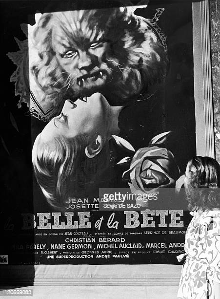 Cannes festival in Cannes France in 1946 Poster of the movie 'La Belle et la Bete' in Cannes First Cannes festival