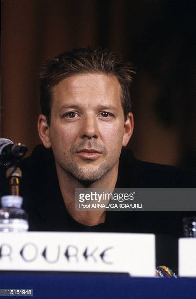 Cannes festival in France in May 1987 Mickey Rourke at Cannes Film Festival presenting ' Barfly' directed by Barbet Schroeder Golden Palm 1987