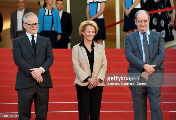 Cannes film director Thierry Fremaux Frederique Bredin and Pierre Lescure attends the Faces Places screening during the 70th annual Cannes Film...