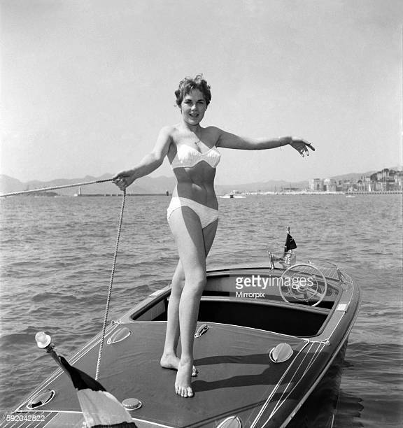 Cannes Film Festival 1953 Lise Michaud seen here modeling a bikini on a speed boat just off the beach at Cannes D3118038