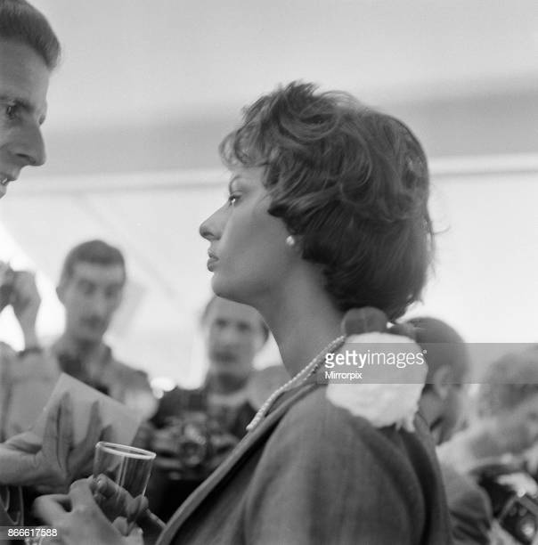 Cannes Film Festival 1958 picture shows Sophia Loren italian actress attends luncheon given in her honour on her day of departure from festival...