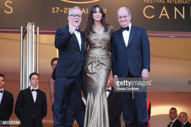 Cannes film festival director Thierry Fremaux actress Monica Bellucci and Pierre Lescure attend the 70th Anniversary of the 70th annual Cannes Film...