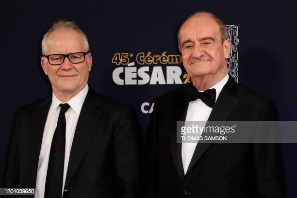Cannes Film Festival director Thierry Fremaux and the President of the Cannes Film Festival Pierre Lescure pose upon their arrival at the 45th...