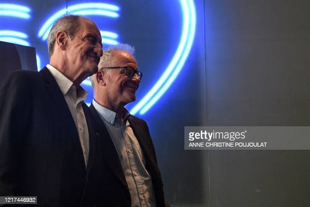Cannes Film Festival director Thierry Fremaux and the President of the Cannes Film Festival Pierre Lescure pose on the sidelines of a press...