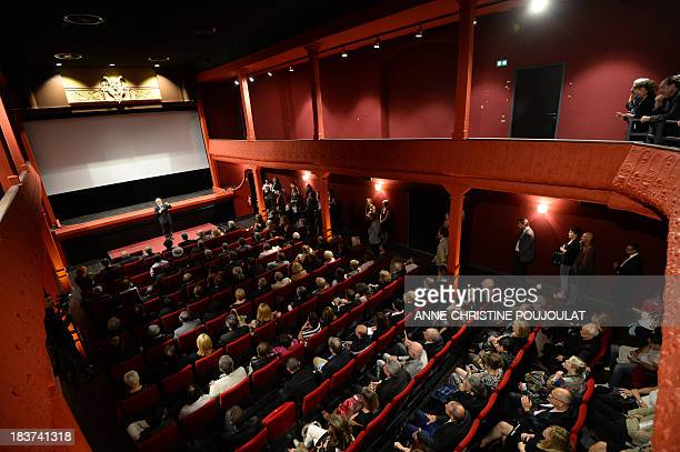 Cannes film festival director Thierry Fremaux delivers a speech during the official reopening of the world's oldest cinema theater L'Eden on October...