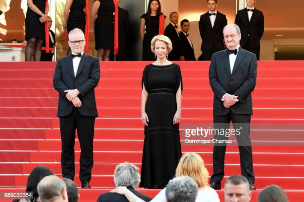 Cannes Film Festival director Thierry Fremaux Frederique Bredin and Pierre Lescure attend the Based On A True Story screening during the 70th annual...