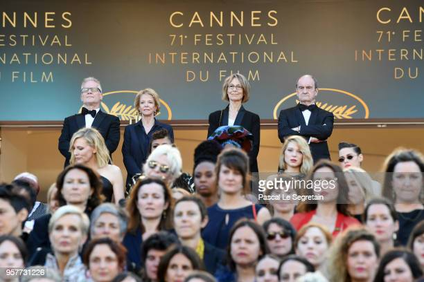 Cannes Film Festival Director Thierry Fremaux Frederique Bredin France's Culture Minister Francoise Nyssen Cannes Film Festival President Pierre...