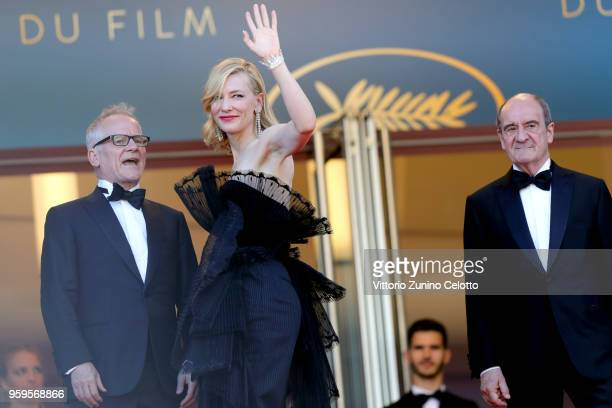 Cannes Film Festival Director Thierry Fremaux Jury president Cate Blanchett and Cannes Film Festival President Pierre Lescure attend the screening of...