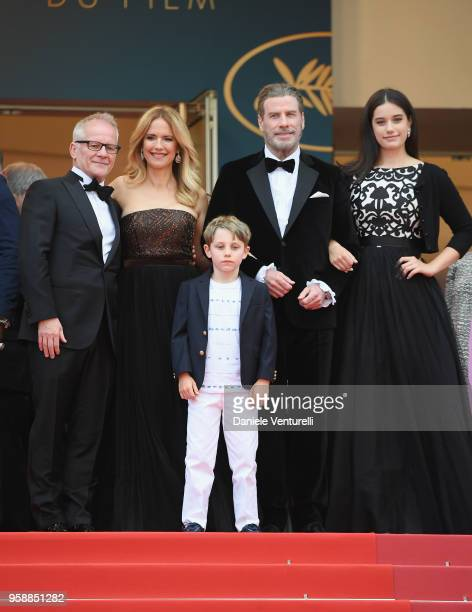 "Cannes Film Festival Director Thierry Fremaux, Kelly Preston, Benjamin Travolta, John Travolta and Ella Bleu Travolta attend the screening of ""Solo:..."