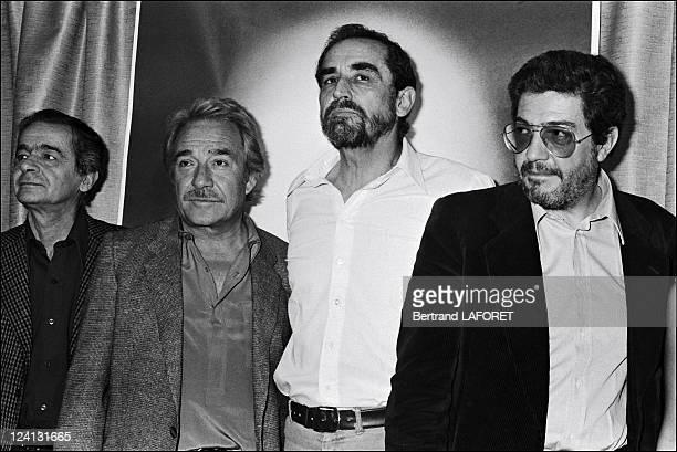 "Cannes film festival: Film ""Fantastica"" in Cannes, France on May 09, 1980 - Serge Reggiani, Ugo Tognazzi, Vittorio Gassman, Ettore Scola."
