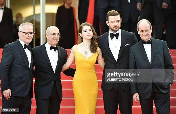 Cannes Film Festival General Delegate Thierry Fremaux and Festival President Pierre Lescure pose with USproducer Jeffrey Katzenberg US actress and...