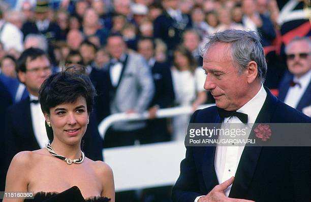 Cannes film festival in Cannes France in May 1987 Yves Montand Carole Amiel