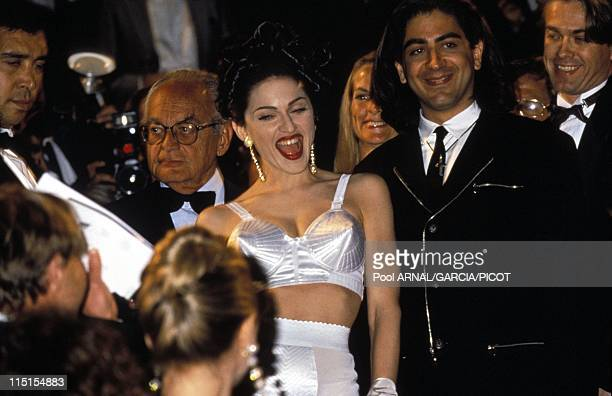 "Cannes Film Festival in Cannes, France in May, 1991 - Singer Madonna arrival's for a movie ""in bed with Madonna"" wearing Jean-Paul Gaultier."
