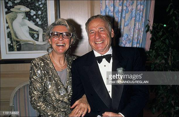 Cannes Film Festival: Mel Brooks decorated by Gilles Jacob in Cannes, France on May 15, 1991 - Mel Brooks and his wife Ann Bancroft.