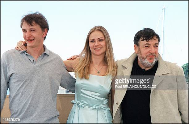 Cannes Film Festival Photocall Of The Wedding In Cannes France On May 15 2000Marat Bacharov Maria Miranova and Pavel Lounguine
