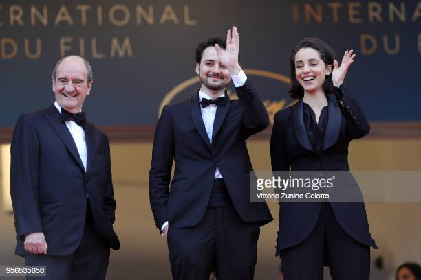 Cannes Film Festival President Pierre Lescure Director AB Shawky and and producer Dina Emam attend the screening of 'Yomeddine' during the 71st...