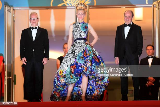 Cannes Film Festival President Pierre Lescure, Jury President Cate Blanchett and Cannes Film Festival Director Thierry Fremaux attend the screening...