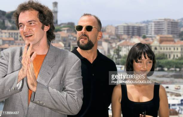 Cannes Film Festival 'Pulp Fiction' In Cannes France On May 20 1995Quentin Tarantino Bruce Willis and Maria de Meideros