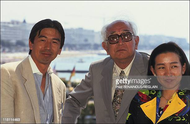 Cannes Film Festival 'Rhapsody in August' in Cannes France on May 12 1991 Akira Kurosawa with his daughter Kazuko and his son Hisao