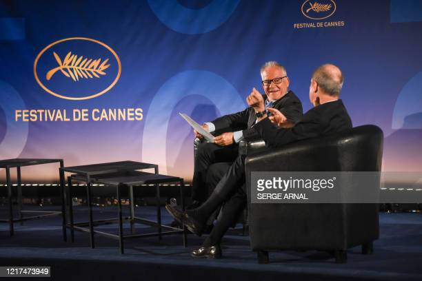 Cannes Film Festival's director Thierry Fremaux and President Pierre Lescure reveal the 73rd Cannes Film Festival Official Selection in Paris on June...