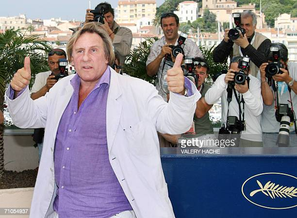 French actor Gerard Depardieu gives thumbs up during a photocall for French director Xavier Giannoli's film 'Quand j'etais chanteur' at the 59th...