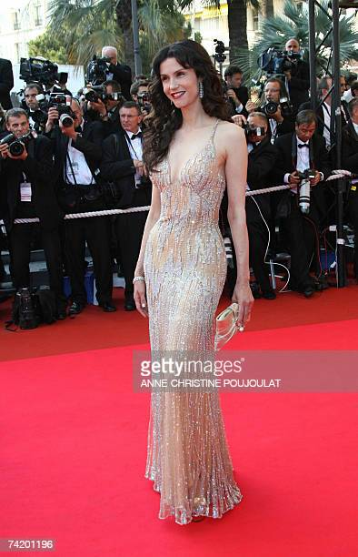 French actress Alessandra Martines, wife of French director Claude Lelouch, poses 20 May 2007 upon arriving at the Festival Palace in Cannes,...