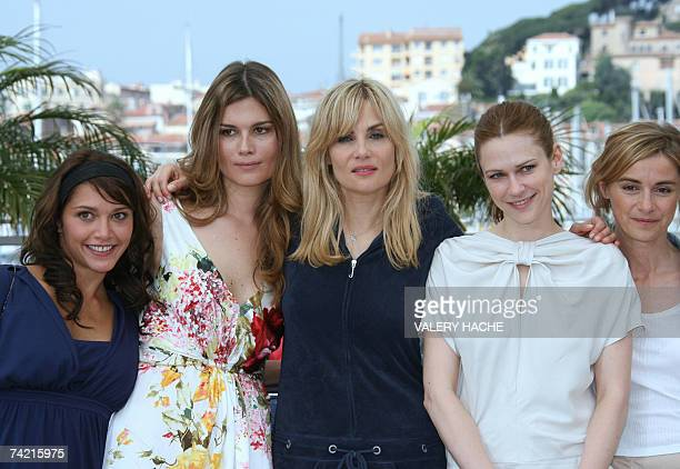 French actress Emma de Caunes Marina Hands and Emmanuelle Seigner Canadian actress MarieJose Croze French actress Anne Consigny pose 22 May 2007...