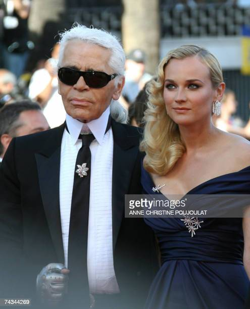 German fashion designer Karl Lagerfeld and German actress, Master of Ceremonies Diane Kruger pose 27 May 2007 upon arriving at the Festival Palace in...