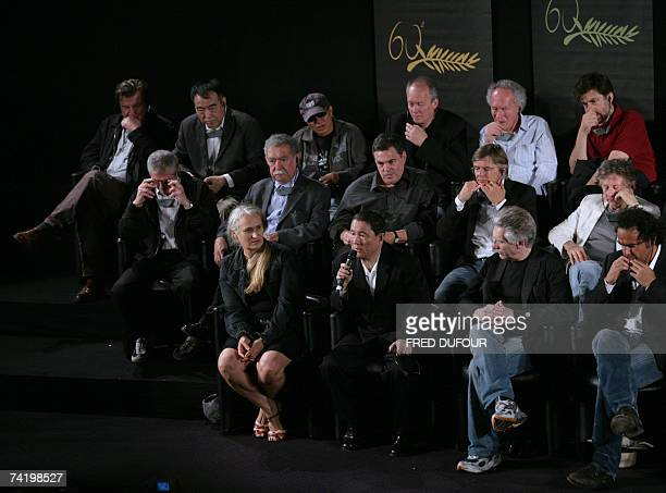Japanese director Takeshi Kitano talks 20 May 2007 surrounded by New Zealander director Jane Campion Canadian director David Cronenberg and Mexican...