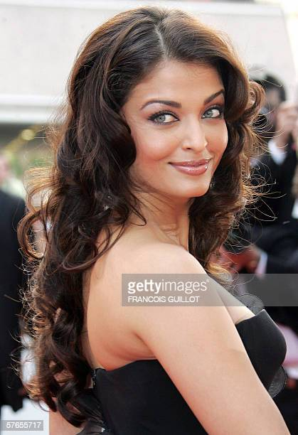 L'Oreal star Indian actress Aishwarya Rai poses upon arriving at the Festival Palace to attend the opening ceremony of the 59th edition of the...